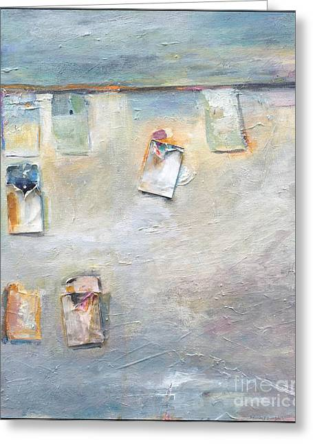 Beach Towel Mixed Media Greeting Cards - Beach Greeting Card by Patty Montgomery