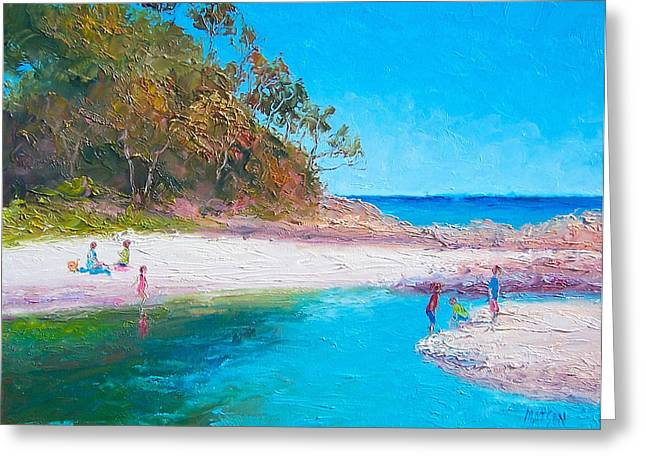 People On Beach Greeting Cards - Beach Picnic Greeting Card by Jan Matson