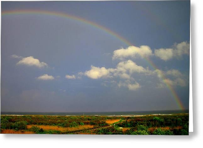 Double Rainbow Greeting Cards - Beach Rainbow Greeting Card by Mary McCusker