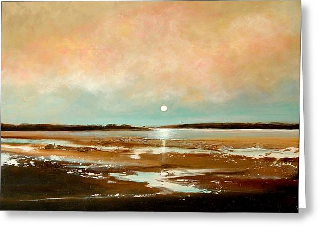 Moon Beach Greeting Cards - Beach Reflections Greeting Card by Toni Grote