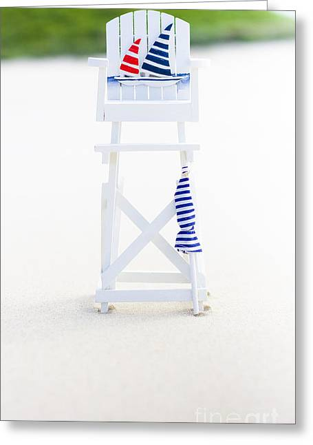Wooden Platform Greeting Cards - Beach Safety Greeting Card by Ryan Jorgensen