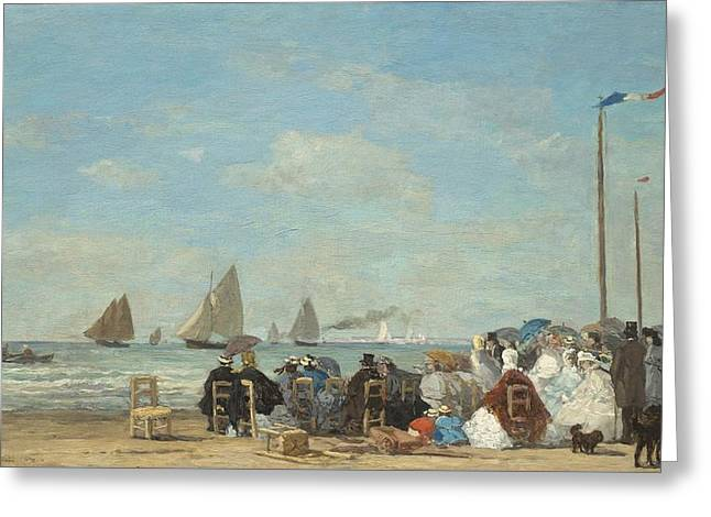 Blue Sailboats Greeting Cards - Beach Scene At Trouville Greeting Card by Eugene Boudin