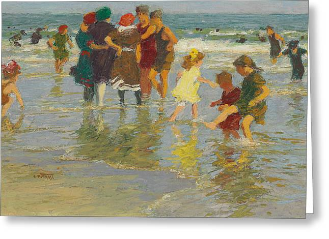 On The Beach Greeting Cards - Beach Scene Greeting Card by Edward Henry Potthast