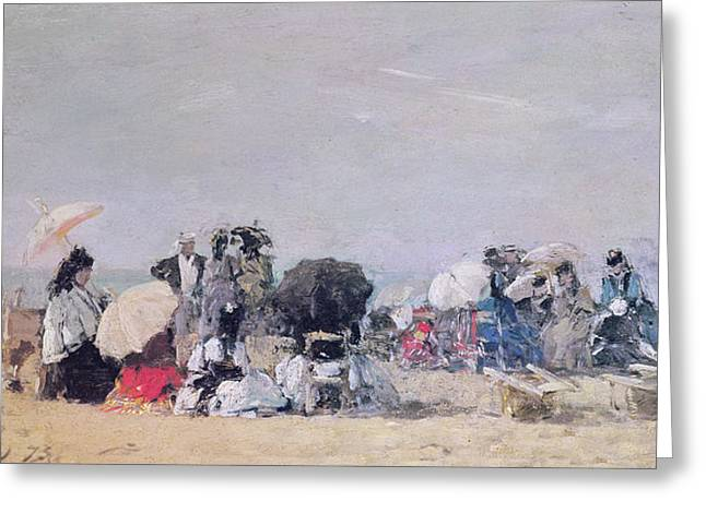 Boudin Greeting Cards - Beach Scene Greeting Card by Eugene Louis Boudin