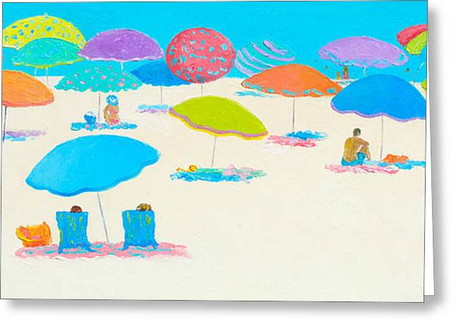 Beach Cottage Style Greeting Cards - Beach scene - Happy Times and Sunshine Greeting Card by Jan Matson
