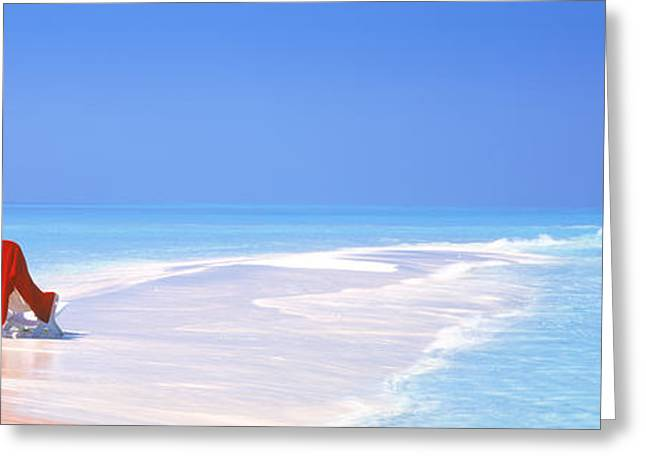 Chaise Lounges Greeting Cards - Beach Scenic The Maldives Greeting Card by Panoramic Images
