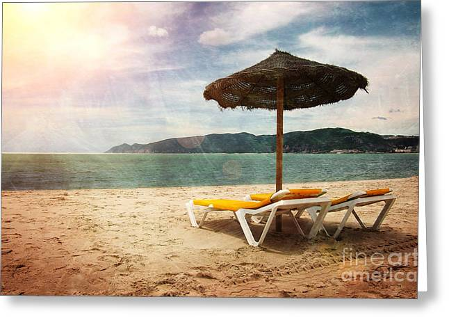 Deck Chairs Greeting Cards - Beach Shader Greeting Card by Carlos Caetano