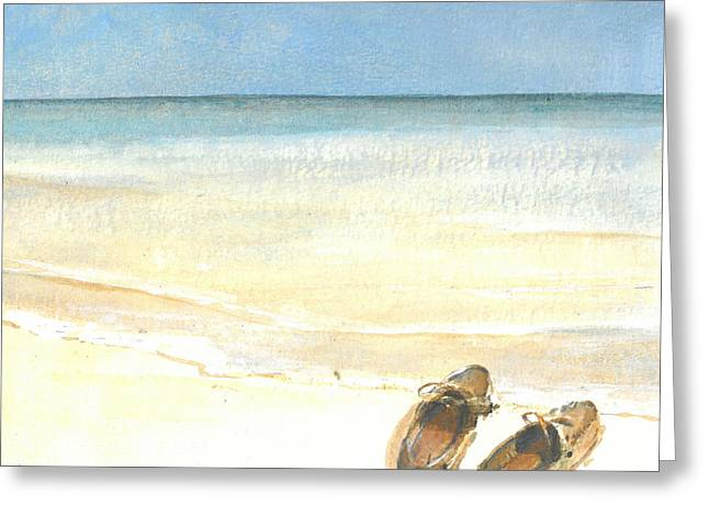 Ocean Shore Drawings Greeting Cards - Beach Shoes Greeting Card by Lincoln Seligman