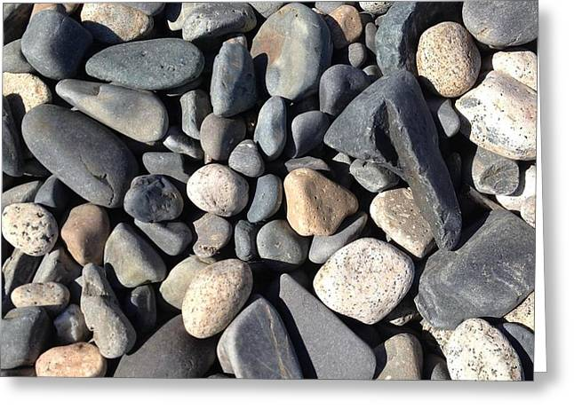 Maine Beach Greeting Cards - Beach Stones Greeting Card by Em Bickhardt