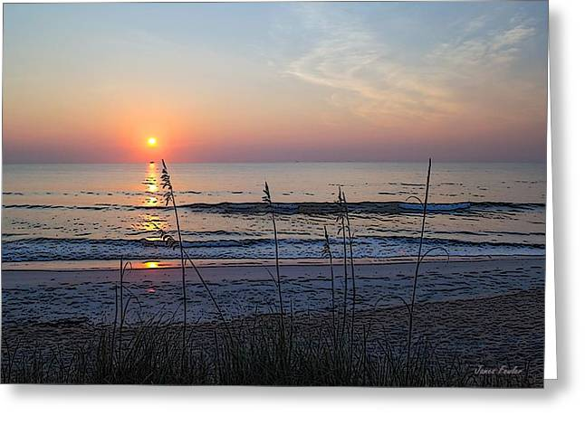 Reflection In Water Greeting Cards - Beach Sunrise A2 Greeting Card by James Fowler