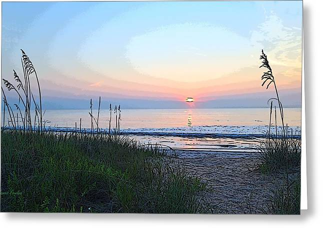Reflection In Water Greeting Cards - Beach Sunrise A3 Greeting Card by James Fowler