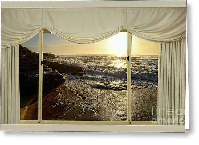 Beach Sunrise From Your Home Or Office By Kaye Menner Greeting Card by Kaye Menner