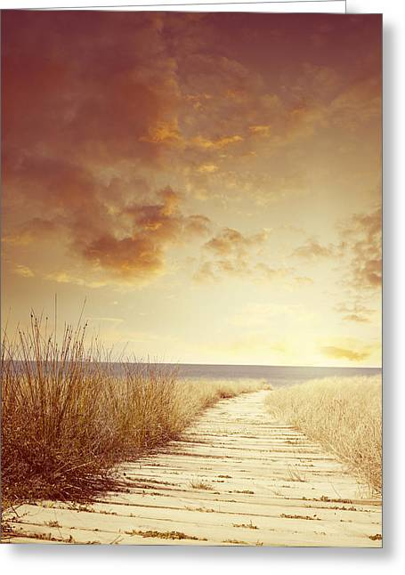 Beach Photographs Greeting Cards - Beach sunrise Greeting Card by Les Cunliffe