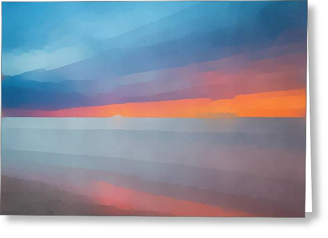 Beach Sunset Abstract 2 Greeting Card by Edward Fielding