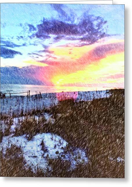 Beach Sunset Greeting Card by Susan Leggett