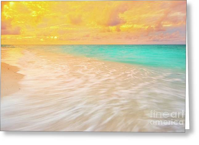 Reflection In Water Greeting Cards - Beach Sunset with Waves on Beach Greeting Card by Charline Xia