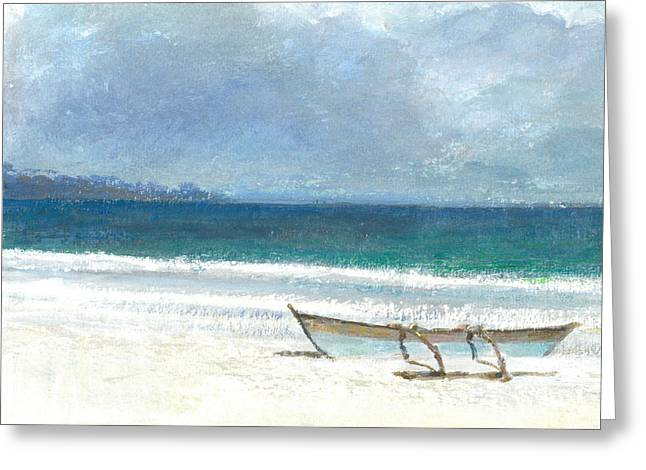 On The Beach Greeting Cards - Beach Thalassa Greeting Card by Lincoln Seligman