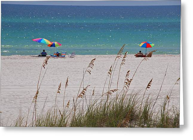 Sea Oats Greeting Cards - Beach Time at the Gulf - before the oil spill disaster Greeting Card by Susanne Van Hulst