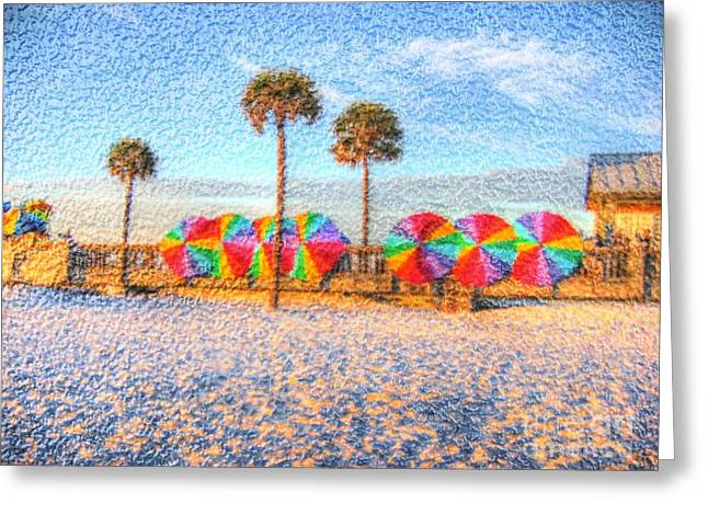 Lineup Greeting Cards - Beach Umbrella Lineup Greeting Card by Michael Garyet