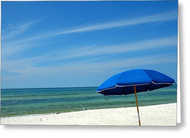 Beach Umbrella Greeting Card by Susanne Van Hulst
