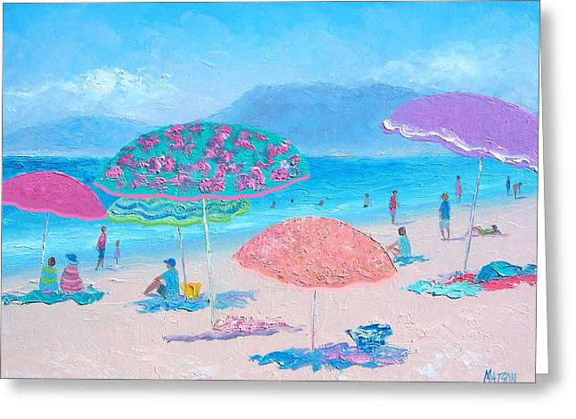 Beach Cottage Style Greeting Cards - Beach Umbrellas 2 Greeting Card by Jan Matson
