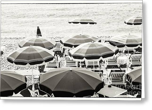 Azur Greeting Cards - Beach umbrellas in Nice Greeting Card by Elena Elisseeva