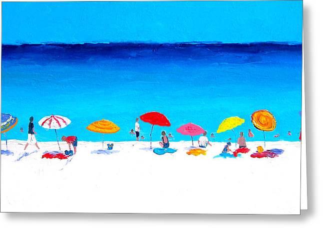 Ocean Panorama Paintings Greeting Cards - Beach Umbrellas Greeting Card by Jan Matson