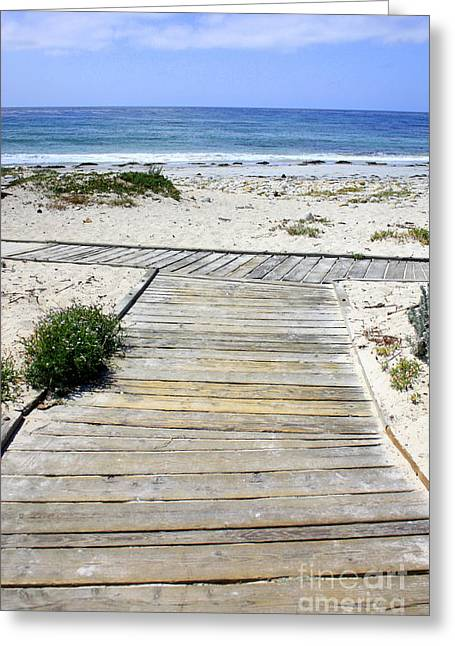 Blue Sky And Sand Greeting Cards - Beach Walk Greeting Card by Carol Groenen