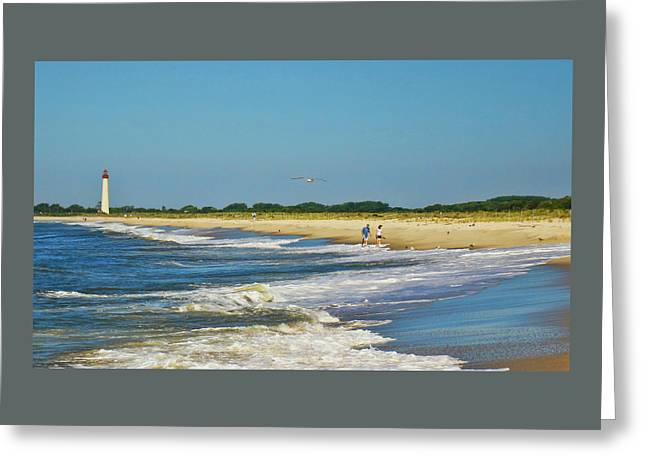 Illuminate Greeting Cards - Beach Walk From Cape May Lighthouse Greeting Card by Allen Beatty
