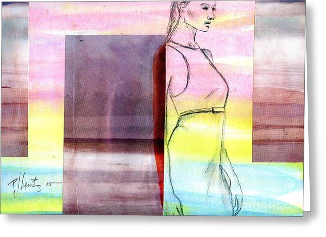 Figure Drawing Mixed Media Greeting Cards - Beach Walk Greeting Card by P J Lewis