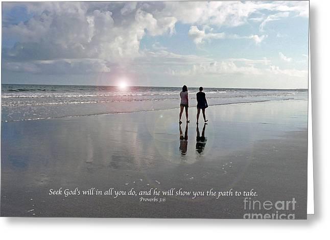 Bible Greeting Cards - Beach Walk, Sisters Greeting Card by Linda Vodzak