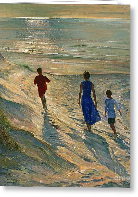 Calm Waters Paintings Greeting Cards - Beach Walk Greeting Card by Timothy Easton