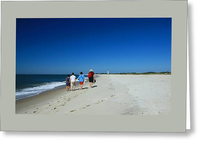 Illuminate Greeting Cards - Beach Walk to Cape May Lighthouse Greeting Card by Allen Beatty