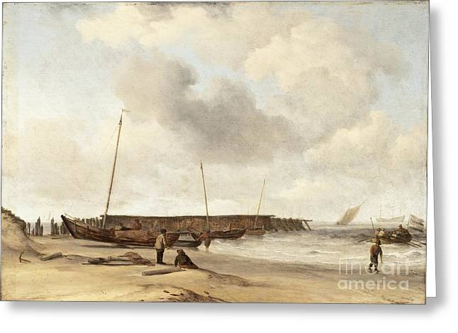 Green Ocean With White Water Greeting Cards - Beach with a Weyschuit Pulled up on Shore Greeting Card by Willem van de Velde the Younger
