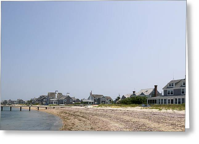 New England Ocean Greeting Cards - Beach With Buildings In The Background Greeting Card by Panoramic Images