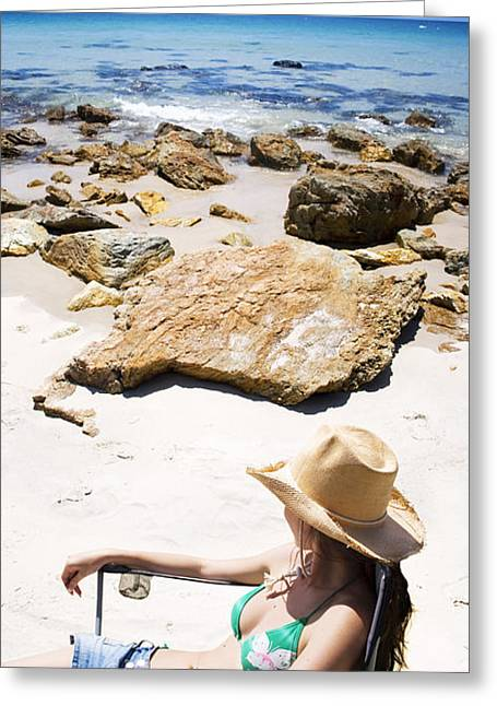 Revive Greeting Cards - Beach Woman Greeting Card by Ryan Jorgensen