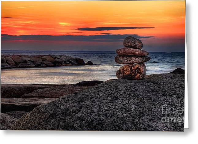 Stack Rock Greeting Cards - Beach Zen Greeting Card by Mark Miller