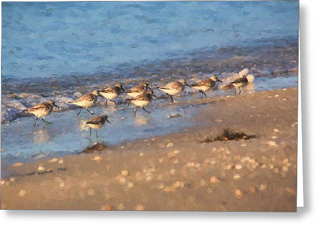Sand Art Greeting Cards - Beachcombers - Sandpipers on the Beach Greeting Card by HH Photography of Florida