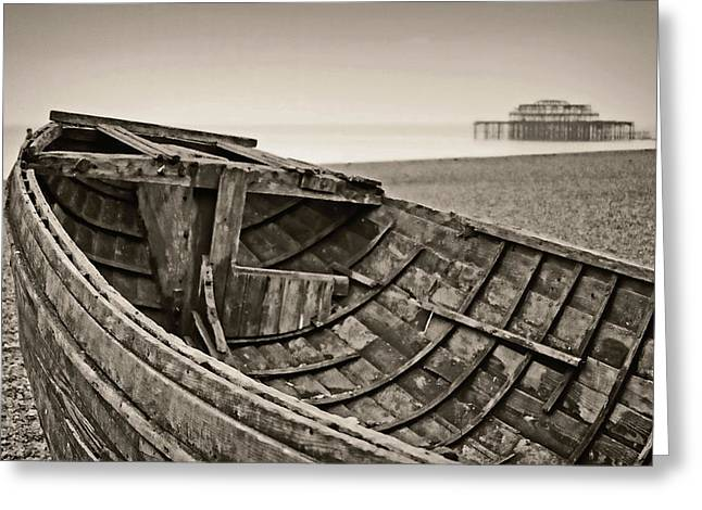 Fog At Sea Greeting Cards - Beached at Brighton in Sepia Greeting Card by Tony Grider