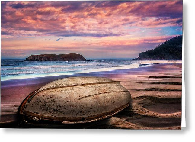 Beached At Sunset Greeting Card by Debra and Dave Vanderlaan