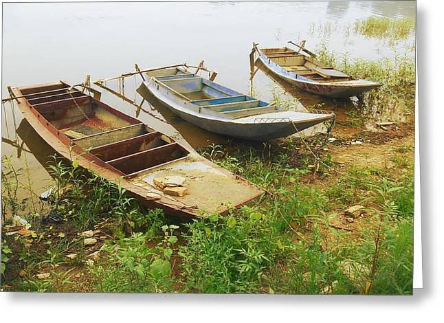 China Beach Greeting Cards - Beached Boats Greeting Card by Callie Lynn