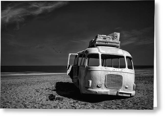 Monochrome Greeting Cards - Beached Bus ... Greeting Card by Yvette Depaepe