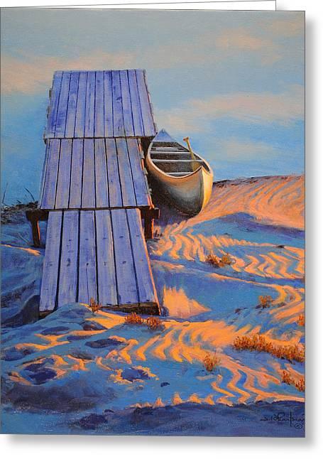 Canoe Greeting Cards - Beached Canoe Greeting Card by Jim Whartman