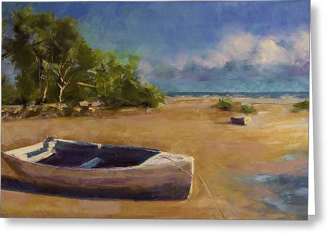 Row Pastels Greeting Cards - Beached Greeting Card by David Patterson