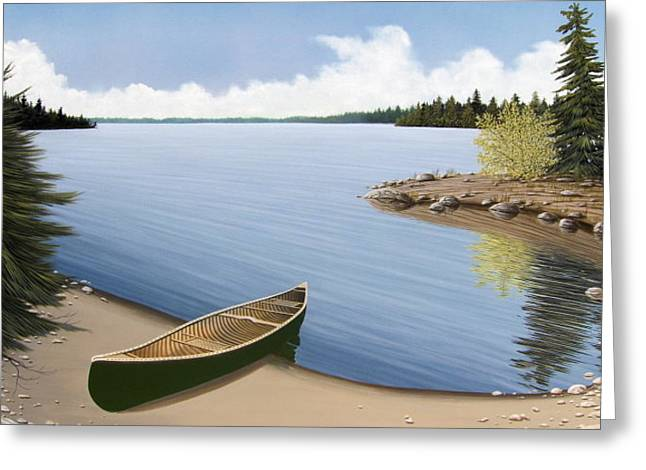 Canoe Paintings Greeting Cards - Beached in Ontario Greeting Card by Kenneth M  Kirsch