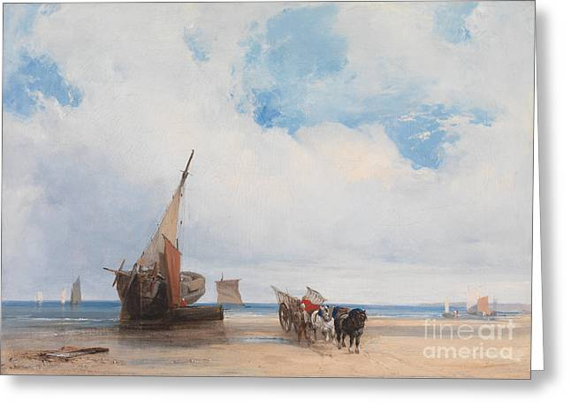 Water Vessels Drawings Greeting Cards - Beached Vessels and a Wagon Greeting Card by Richard Parkes Bonington