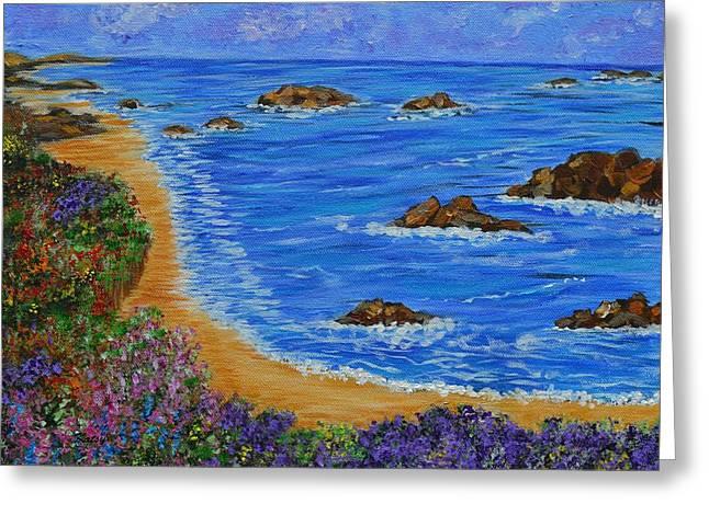 California Beach Art Greeting Cards - Beaches of Monterrey- Ocean Landscape-seascape art Greeting Card by Kathy  Symonds