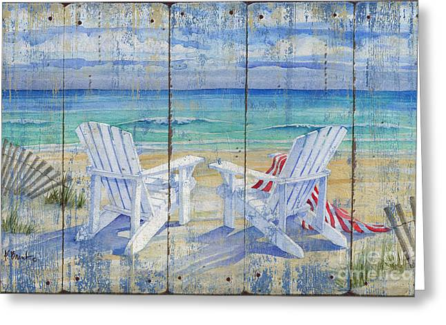 Beachview Distressed Greeting Card by Paul Brent