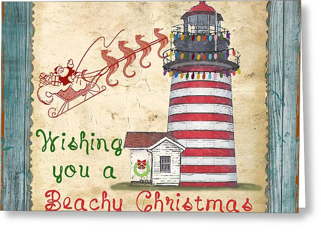 Sea Horse Greeting Cards - Beachy Christmas-JP3167 Greeting Card by Jean Plout