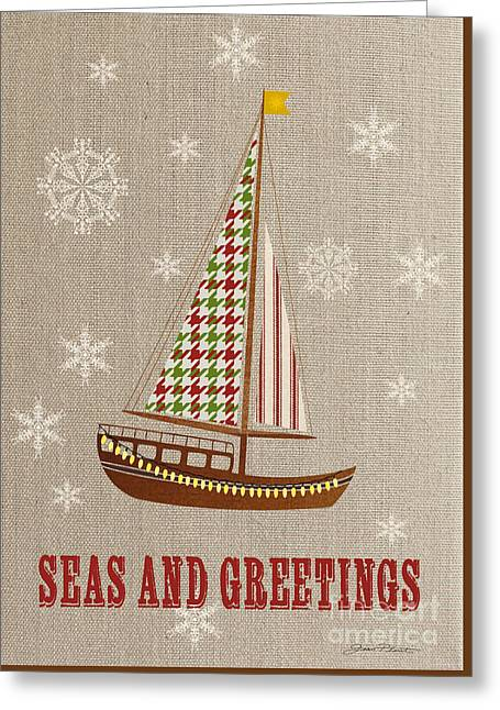 Sea Horse Greeting Cards - Beachy Christmas-JP3176 Greeting Card by Jean Plout